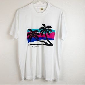 Vintage Hawaii Palm Trees Blue and Pink T-shirt XL